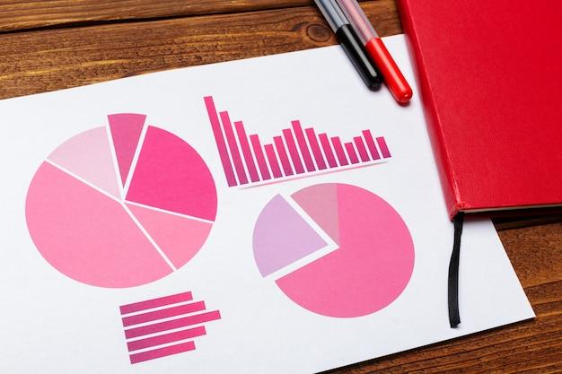 Vista superiore del grafico di carta business o grafico sulla tavola di legno Foto Premium
