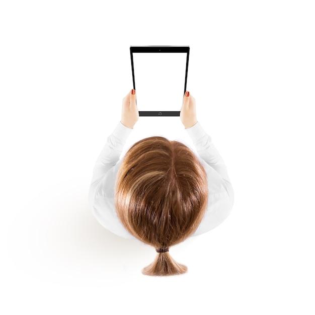 Vista superiore del modello del pc della compressa della tenuta della donna a disposizione Foto Premium