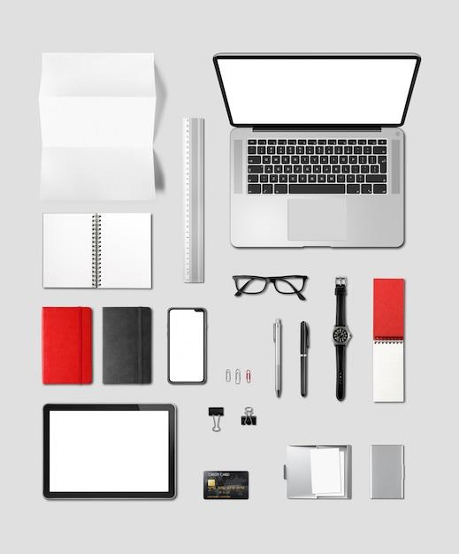 Vista superiore del modello marcante a caldo della scrivania isolata su gray Foto Premium