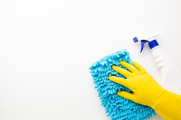 Vista superiore della superficie di pulizia della mano Foto Gratuite
