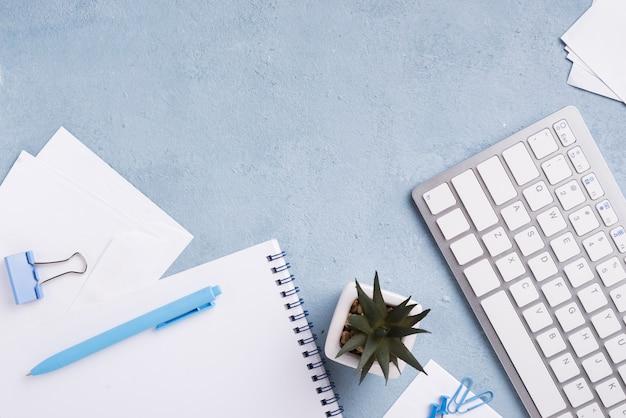 Vista superiore della tastiera sullo scrittorio con il taccuino e la pianta succulente Foto Gratuite
