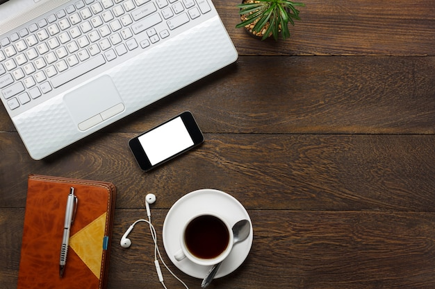 Vista Superiore Scrivania Scrivania Telefono Cellulare Nota Carta