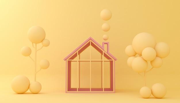 Visualizza la forma geometrica delle case e degli alberi del fondo. vetrina vuota, rappresentazione dell'illustrazione 3d. Foto Premium