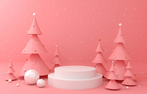 Visualizza lo sfondo e il pino rosa per la presentazione del prodotto Foto Premium