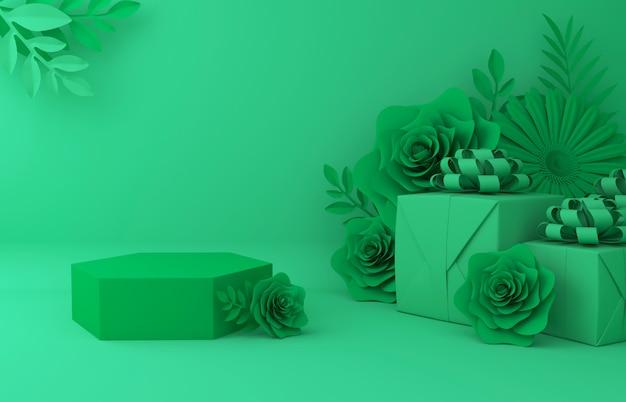 Visualizza lo sfondo per la presentazione del prodotto cosmetico. vetrina vuota, rappresentazione dell'illustrazione della carta del fiore 3d. Foto Premium
