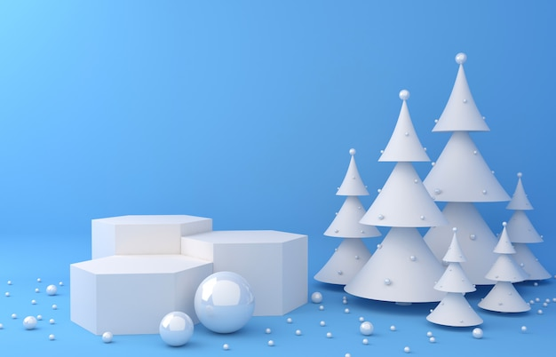 Visualizza sfondo e pino bianco per la presentazione del prodotto Foto Premium
