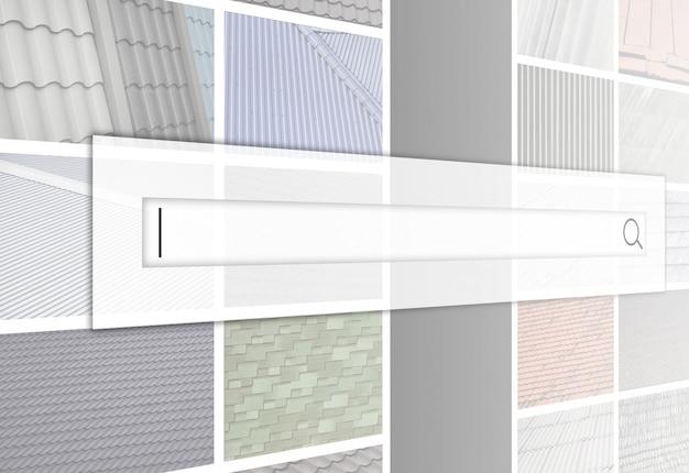 Visualizzazione della barra di ricerca sullo sfondo di un collage di molte immagini Foto Premium