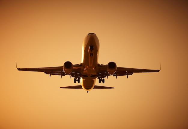 Volo dell'aeroplano al tramonto Foto Premium