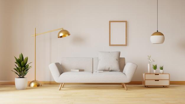 Vuoto soggiorno con divano in tessuto blu, lampada e piante. rendering 3d Foto Premium