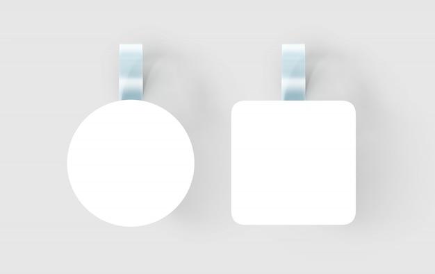 Wobbler bianco vuoto appeso al muro, Foto Premium