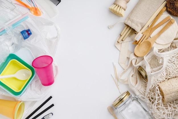 Zero rifiuti, riciclaggio, concetto di stile di vita sostenibile, disteso Foto Premium