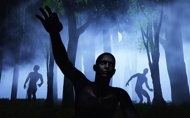 Zombie 3d nella foresta nebbiosa Foto Gratuite