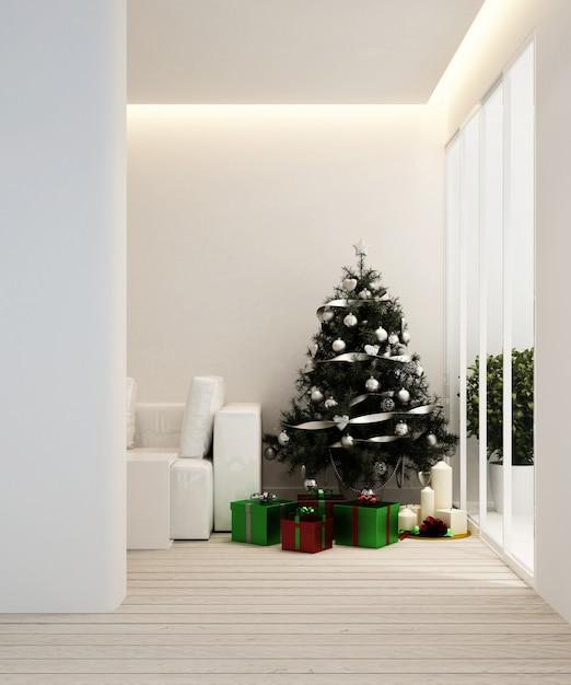 Zona giorno e albero di natale in appartamento o casa - interior design - rendering 3d Foto Premium