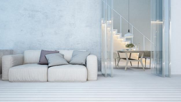 Zona giorno e zona pranzo in appartamento o home - rendering 3d Foto Premium