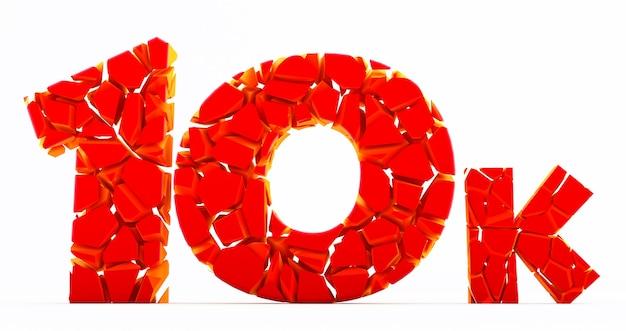 10k ou 10000 obrigado palavra 3d vermelha. usuário da web obrigado comemorar de assinantes ou seguidores, gostos. número brocken Foto Premium