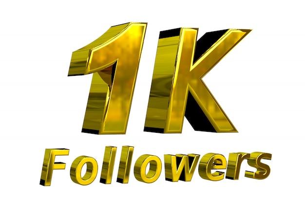 1k banner de celebração de seguidores para uso em mídias sociais Foto Premium