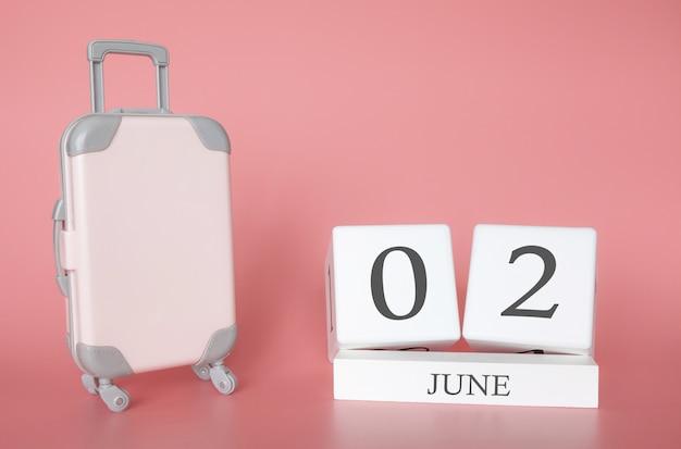 2 de junho, hora de férias ou viagem de verão, calendário de férias Foto Premium