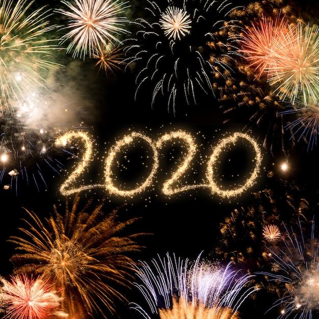 2020, ano novo, fogos artifício, fundo Foto Premium