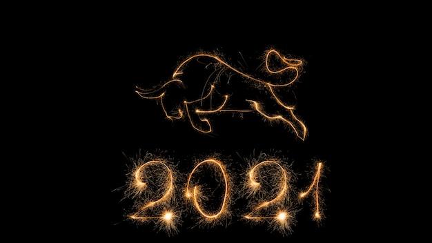 2021 ano novo chinês do cartão de feliz ano novo de 2021. fundo preto de celebração com boi. Foto Premium
