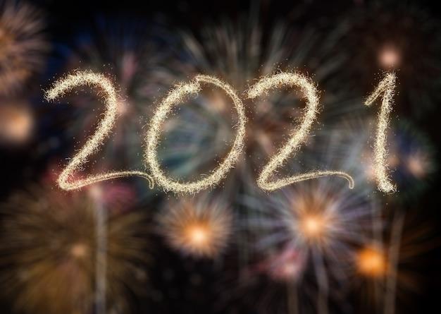 2021 fogos de artifício de ano novo, boas festas e conceito de ano novo Foto Premium