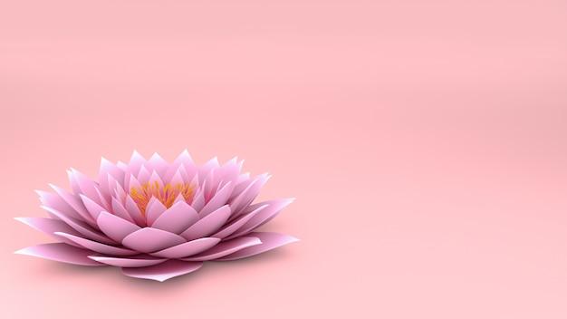 3 d flor de lótus na parede rosa Foto Premium