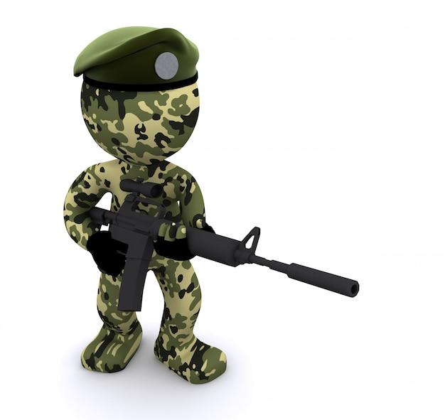 3 d soldado texturizado com camuflagem Foto Premium