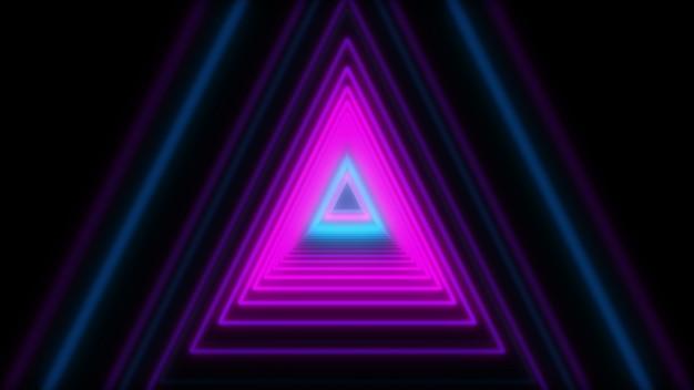 3d abstrato ilumina triângulos de néon. animação de loop. Foto Premium