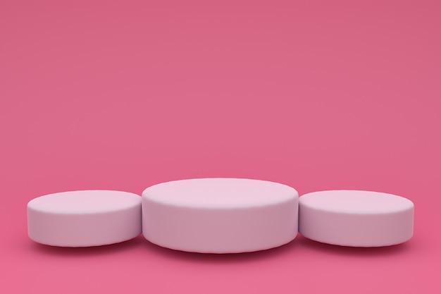 3d abstrato render. plataforma branca para exibição do produto. lugar do pódio interior. modelo de decoração em branco para fundo rosa. Foto Premium