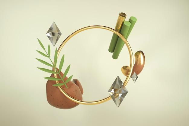 3d criativo render com moldura. composição moderna de formas e materiais. cores terrosas. Foto Premium