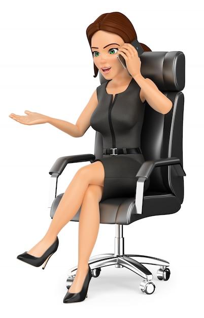 3d empresária sentado em seu escritório, falando no celular Foto Premium