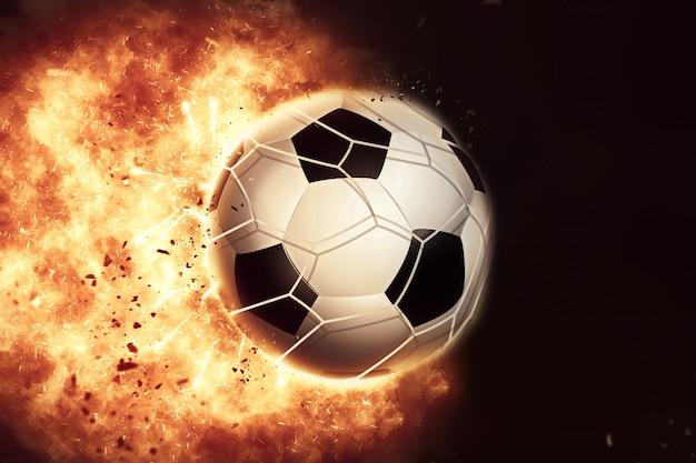 3d eploding bola de futebol / futebol de fogo Foto gratuita