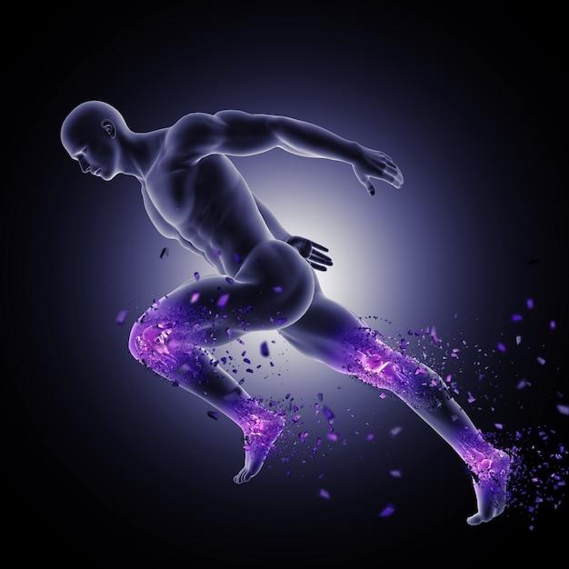 3d figura masculina em pose de corrida com articulações das pernas destacadas e quebrando Foto gratuita
