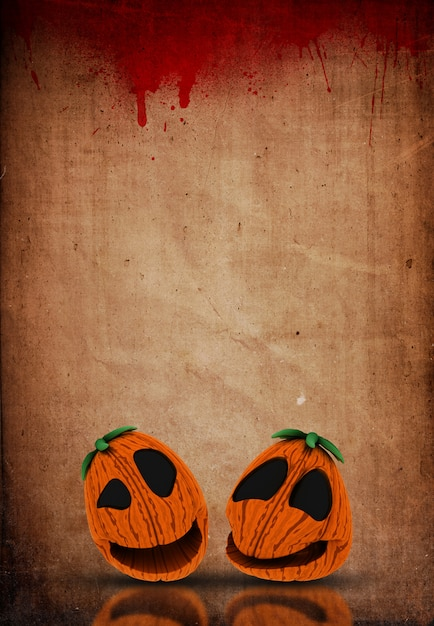 3d halloween jack o lanternas em um fundo de papel splattered de sangue de grunge Foto Premium