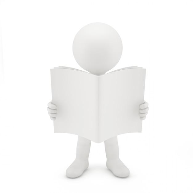 3d homem lendo um livro. Foto Premium