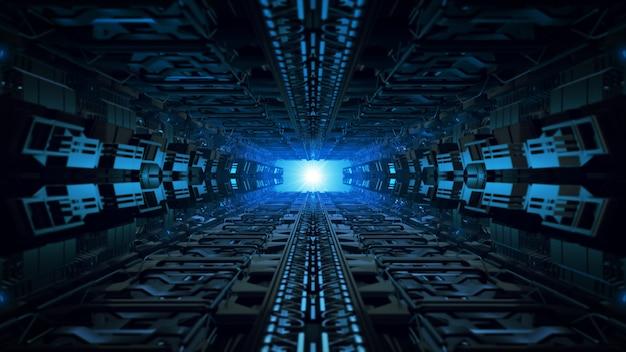 3d ilustração design futurista nave espacial interior infinito corredor Foto Premium