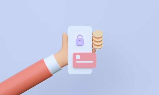 3d mão segurando o smartphone com transações bancárias e pagamentos móveis on-line Foto Premium