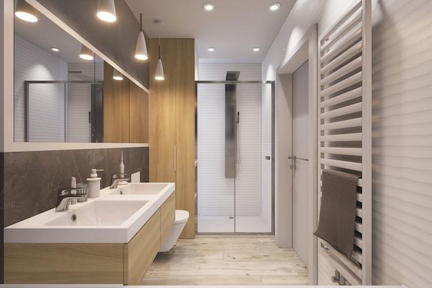 3d modern bathroom Foto Premium