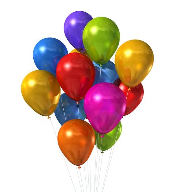 3d multi colorido balões de ar isolados no branco Foto Premium