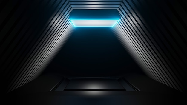 3d plataforma renderings imagem de fundo abstrata luz azul sala preta Foto Premium