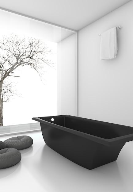 3d que rende a banheira preta mínima perto da janela no inverno Foto Premium