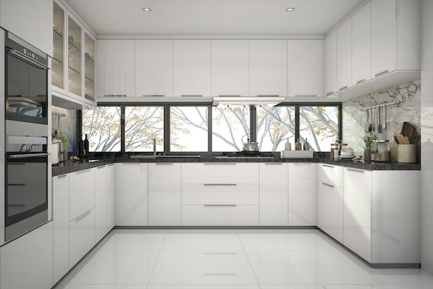 3d que rende a cozinha branca moderna bonita com decoração de mármore Foto Premium