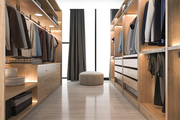3d que rende a madeira branca escandinava moderna anda no armário com o vestuário perto da janela Foto Premium