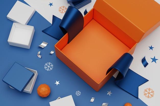 3d que rende caixas de presente unboxing. abra a caixa de presente vazia e acessórios, conceito de compras on-line. Foto Premium