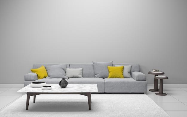 3d realista sala de estar interior Foto Premium