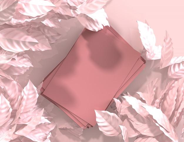 3d rendem a cor-de-rosa abstrata geométrica deixa o fundo, maquete minimalista para exibição no pódio Foto Premium