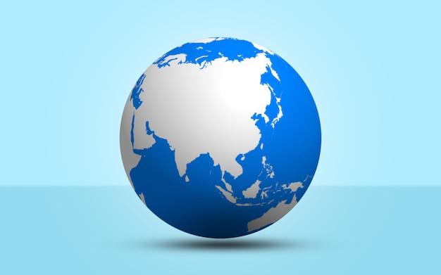 3d rendem a esfera do globo no fundo azul Foto Premium