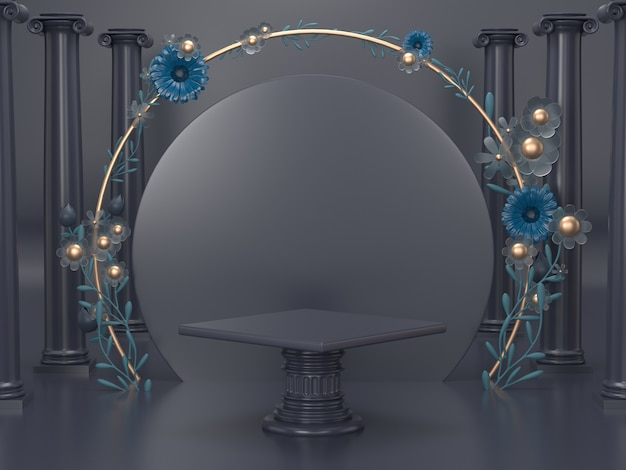 3d rendem a exposição cosmética luxuosa do carrinho. decoração do pódio para o fundo cosmético com design romano e floral. Foto Premium