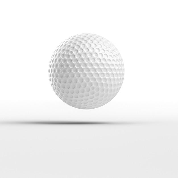 3d rendem a imagem de uma bola de golfe no branco. Foto Premium