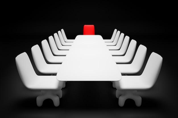3d rendem a tabela branca para negociações, encabeçada por uma cadeira vermelha do líder em fundo preto. Foto Premium
