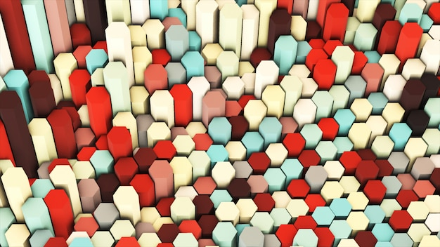 3d rendem colorido pastel colorido muitos hexágonos geométricos técnicos como o fundo. Foto Premium